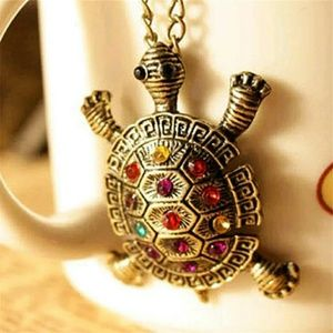 Vintage cute Turtle gemstone necklace pendant